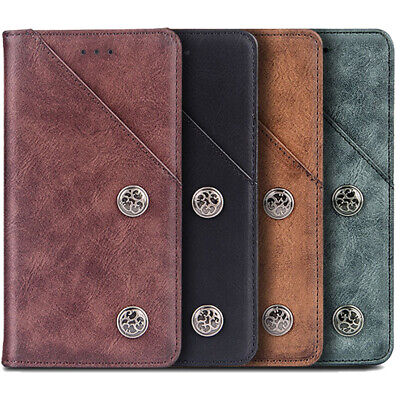 AU16.88 • Buy For Oppo/Vivo - Flip Retro Genuine Leather Wallet Case Stand TPU Silicone Cover
