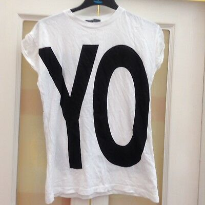 Atmosphere White T-shirt With YOLO Motif Size Small • 3£