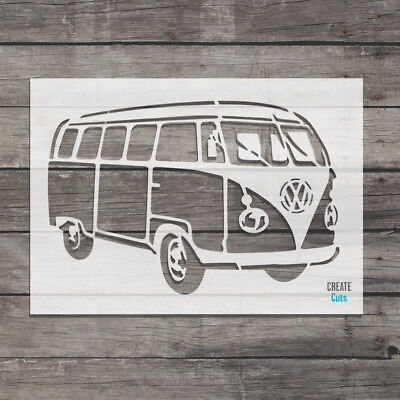 £7.49 • Buy VW Camper Van Reusable STENCIL Retro Car Decor Wall Art Vintage Style Template