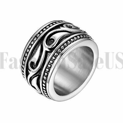 $8.99 • Buy Mens Heavy Wide Vintage Stainless Steel Ring Black Silver Celtic Wedding Band