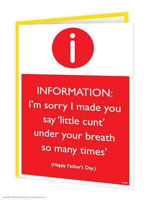 £2.75 • Buy Funny Fathers Day Card RUDE Offensive Humour Comedy Cheeky Joke Dad Daddy Father