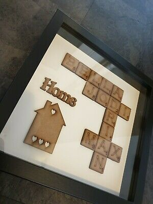 Personalised Family Scrabble Letter Box Frame Picture Fathers Day Gift Present • 17.99£