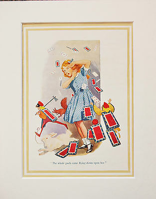 Alice In Wonderland 1930s Vintage Mounted Print, Margaret Tarrant - Pack Of Card • 7.99£