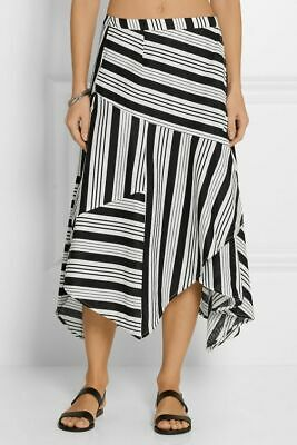 $150 • Buy ZIMMERMANN Ticking Striped Linen And Cotton Wrap Midi Skirt 1 Small S