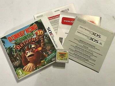 Nintendo 2ds 3ds Game Donkey Kong Country Returns 3d +box Instructions Complete • 18.99£