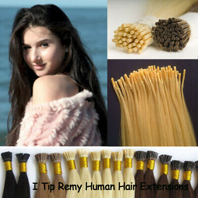 $35.91 • Buy 7A 22inch Keratin Fusion I Tip Straight 50g 100s Pre Bonded Human Hair Extension