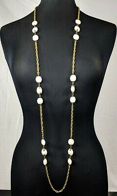 Rare Vintage Trifari Jewellery Link Chain Long Beaded Necklace  • 40£