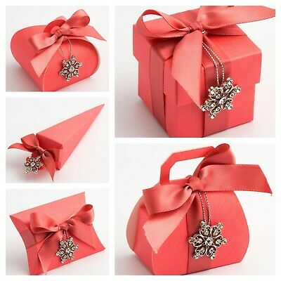 £2.79 • Buy Silk Coral Wedding Favour Boxes - Luxury DIY Party Gift Boxes Box Only