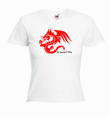 £4.99 • Buy 'St Georges Day Dragon' Womens Ladies Tshirt SALE - White Extra Large XS 6-8