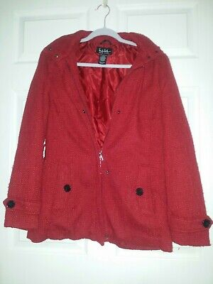 $24.95 • Buy Nicole Miller Red Faux Wool Overcoat Size M 700140351061 Ruby Peacoat Hooded
