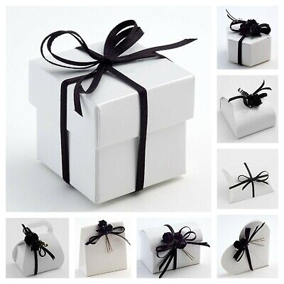 Glossy White Wedding Favour Boxes -Luxury Party/Christening Gift Favor. Box Only • 3.25£
