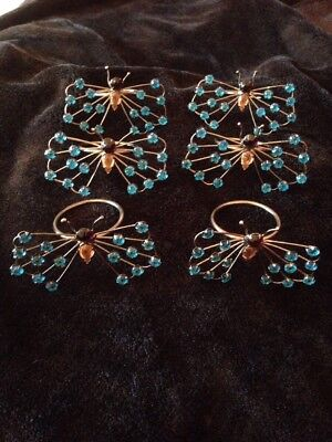 £19.99 • Buy 6 Grey Metal With Blue Glass Stones Butterfly Napkin Rings / Holders