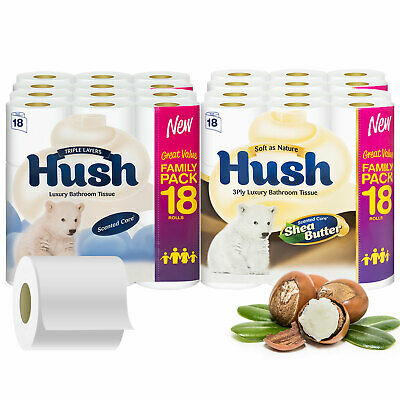 View Details Hush Luxury White Or Shea Butter 3 Ply Toilet Paper - 54 / 108 / 162 Rolls • 14.99£