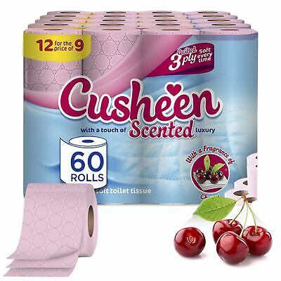 60 Rolls Cusheen Quilted Cherry Scented 3 Ply Toilet Paper • 19.99£