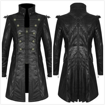 Punk Rave Y-366 Mens Steampunk  Gothic Black Faux Leather Military Jacket Coat • 109.99£