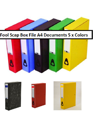 A4 Documents Foolscap Box File Strong Clip Large Compartment 5 Mix Colors Box  • 31.49£