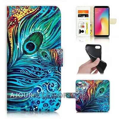 AU12.99 • Buy ( For Oppo A73 ) Flip Wallet Case Cover AJ21569 Peacock Feather