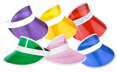 PK OF 6 NEON GOLF, SUN VISOR PUB GOLF 80s, DISCO, POKER, HEN, STAG, FANCY DRESS • 8.99£