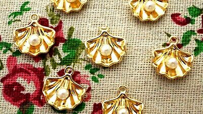Shell Charms 2 Gold With Pearl Pendant Charm Jewellery Supplies C1171 • 2.99£