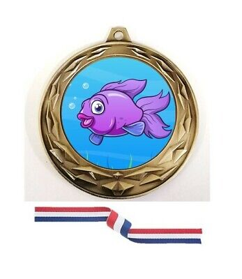 £3.95 • Buy  70mm Fishing Antique Gold Medal Award With Red White Blue Ribbon, (CL)