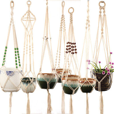 $ CDN8.54 • Buy Vintage Outdoor Flower Pot Hanging Net Handmade Woven Plant Lanyard Net Holder