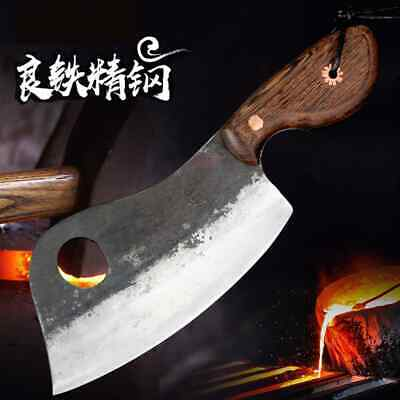 $ CDN84.60 • Buy Thick Heavy Butcher Cleaver Knife Forged Steel Chop Bone Cut Full Tang Wood Hand