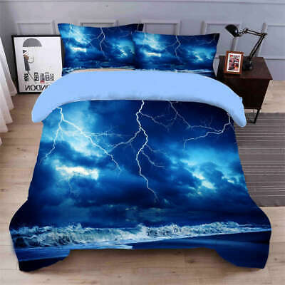 AU98.55 • Buy Blue Lightning 3D Quilt Duvet Doona Cover Set Single Double Queen King Print