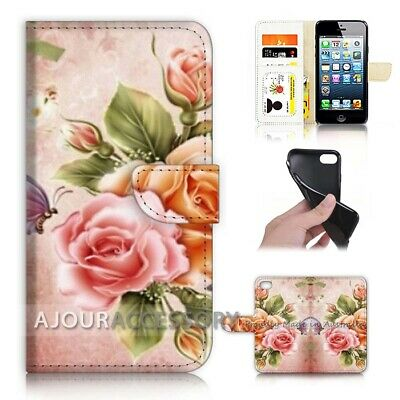 AU12.99 • Buy ( For IPhone 6 / 6S ) Wallet Flip Case Cover AJ21123 Floral Flower Butterfly