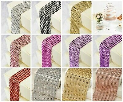 Rhinestone Diamante Effect Mesh Ribbon Wedding Birthday Cakes Trim Bridal Crafts • 3.95£