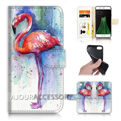 AU12.99 • Buy ( For Oppo A57 ) Wallet Flip Case Cover AJ21758 Flamingo Bird