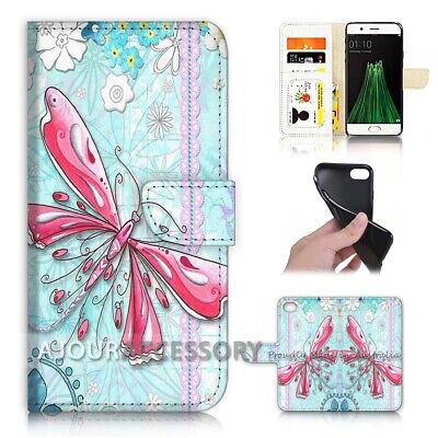 AU12.99 • Buy ( For Oppo A57 ) Wallet Flip Case Cover AJ21101 Pink Butterfly