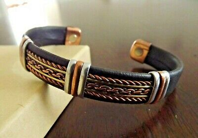 $9.99 • Buy Solid Copper Leather Wrapped Magnetic Bracelet Men Women Energy Pain Jewelry
