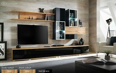 Modern Wall Unit TV Display Stand High Gloss MANHATTAN Free P&P Push - Click Led • 749£