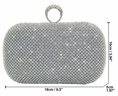 £29.99 • Buy Silver Diamante Diamond Crystal Evening Ring Bag Clutch Purse Party Prom Wedding