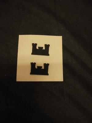 Pair US Army Corps Of Engineers Officers Insignia Black Collar Dogs Vietnam War • 6.99£