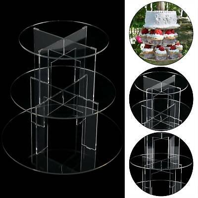 £11.19 • Buy 3 Tier Level Round Cupcake Stand Dessert Clear Acrylic Display Cake Stand UK