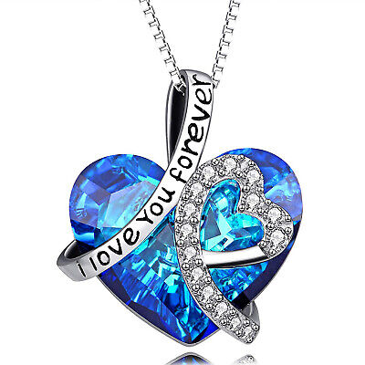 INFINITY LOVE HEART NECKLACE - BIRTHDAY GIFT FOR WIFE WOMEN MOM With Gift Box • 9.99$