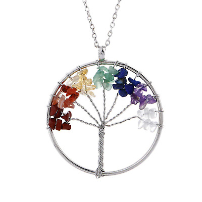 View Details Womens 7 Chakra Tree Of Life Pendant Multicolor Wisdom Energy Necklace • 4.99$