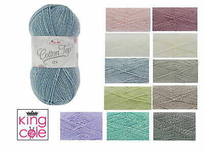 King Cole Cotton Top DK Double Knit Wool Knitting Yarn 100g Ball - All Colours • 2.99£