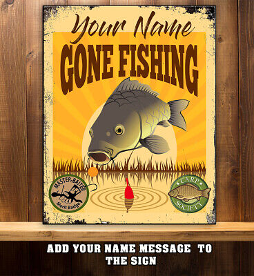 £8.95 • Buy PERSONALISED FISHING GONE FISHING COURSE ANGLING Metal Retro Sign RS324