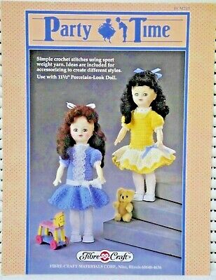 £6.49 • Buy Fibre Craft FCM215 Party Time Knitted Dolls Dress Crochet Pattern 11.5  Doll