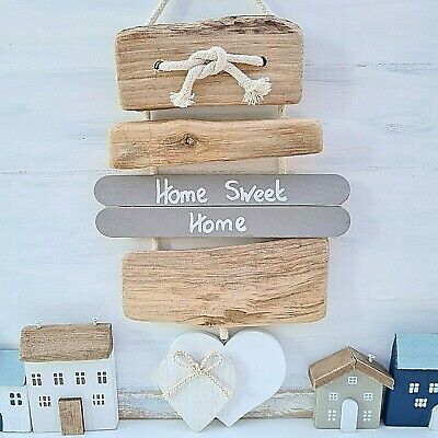Shabby Driftwood Chic Home Sweet Home Wooden Heart Door Plaque Sign. • 9.99£