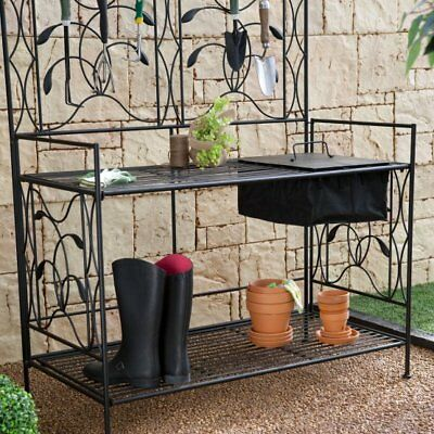$425.95 • Buy Outdoor Metal Garden Potting Bench Gardening Plants Yard Storage Black