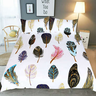 AU98.55 • Buy Colorful Feathers 3D Quilt Duvet Doona Cover Set Single Double Queen King Print
