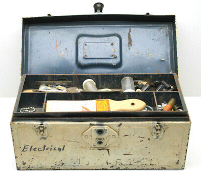 £29.50 • Buy Neat Americana Union Electrician Electrical Parts Tool Box 1950s As Found NYS