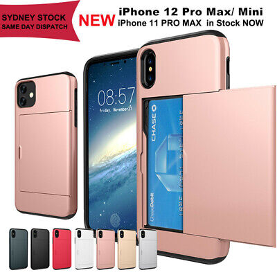 AU7.55 • Buy IPhone 12 X XS Max XR Case Slide Armor Wallet Card Slots Holder Heavy DutyCover