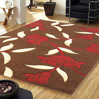 £16.99 • Buy Brown Red Small Large Jasmine Floral Carved Rug 12mm Thick Modern Quality Rugs