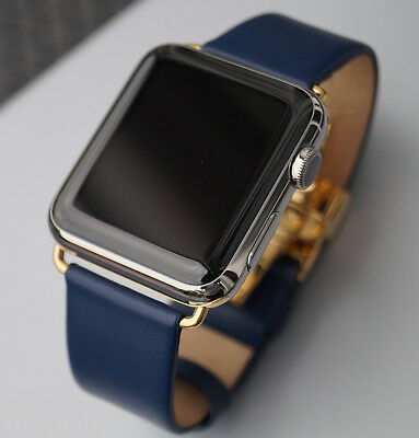 $ CDN407.22 • Buy Business Style Blue Leather Band With Clasp / Strap Apple Watch 44mm Series 4
