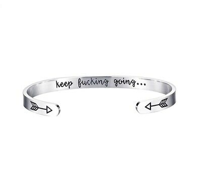 £3.99 • Buy Silver Bangle Bracelet Open Cuff Bangle Ins Letter Engraved Keep Fucking Going