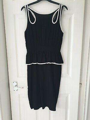 £3 • Buy Dorothy Perkins Peplum Dress Black & White Size 10 Party Work Casual Silky Feel